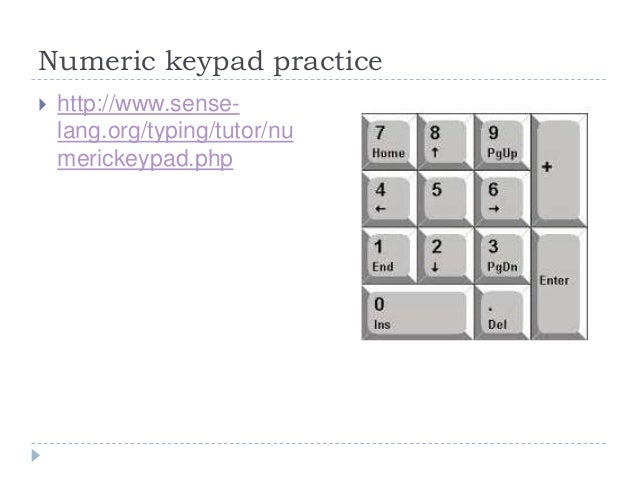 Numeric keypad practice ...