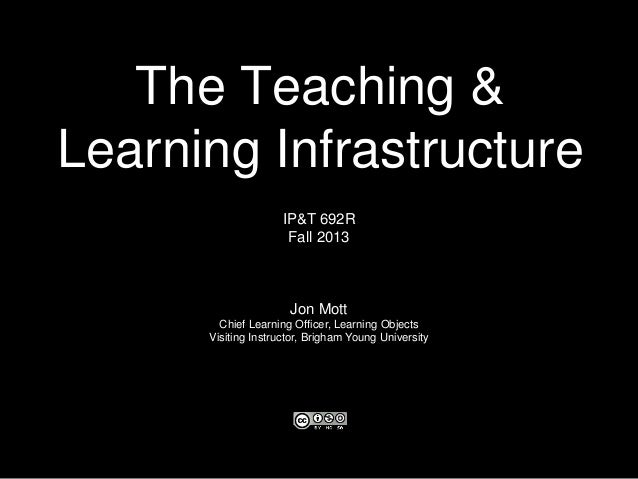 The Teaching & Learning Infrastructure IP&T 692R Fall 2013 Jon Mott Chief Learning Officer, Learning Objects Visiting Inst...