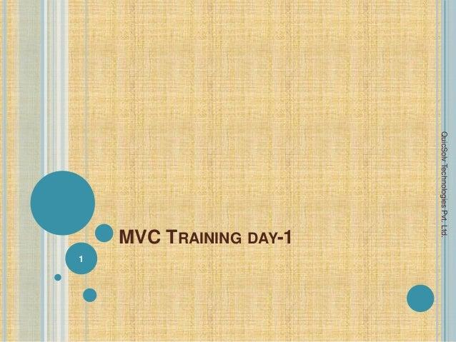 MVC TRAINING DAY-1 1 QuicSolvTechnologiesPvt.Ltd.