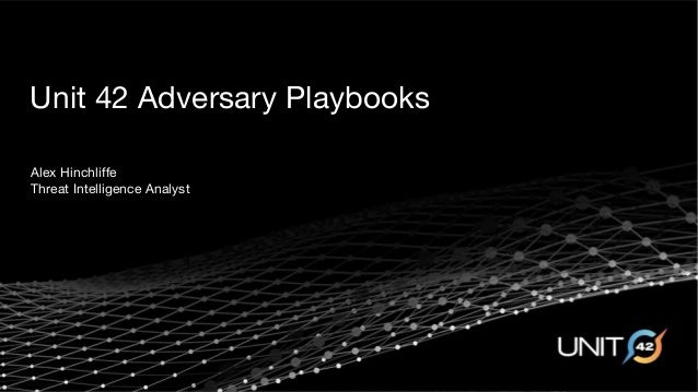 Unit 42 Adversary Playbooks Alex Hinchliffe Threat Intelligence Analyst