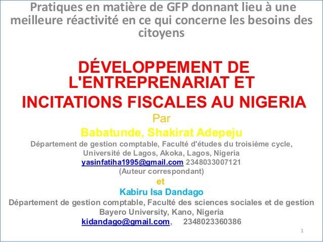 Pratiques en matière de GFP donnant lieu à une meilleure réactivité en ce qui concerne les besoins des citoyens DÉVELOPPEM...