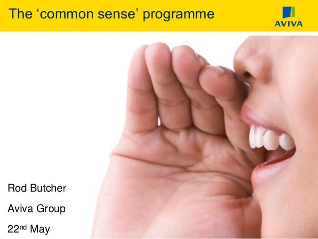 The 'common sense' programme Rod Butcher Aviva Group 22nd May
