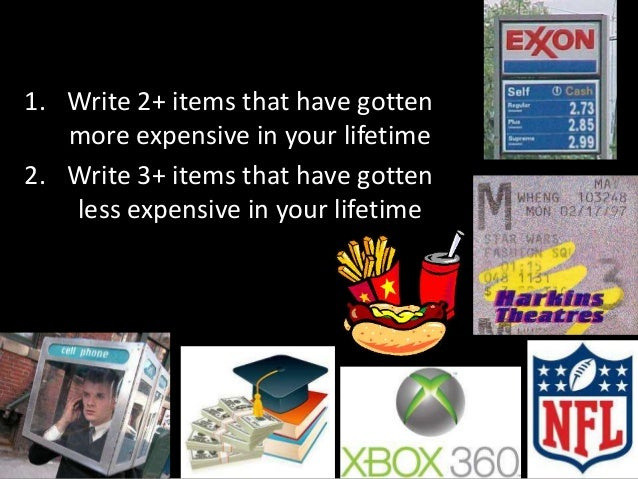 1. Write 2+ items that have gotten more expensive in your lifetime 2. Write 3+ items that have gotten less expensive in yo...