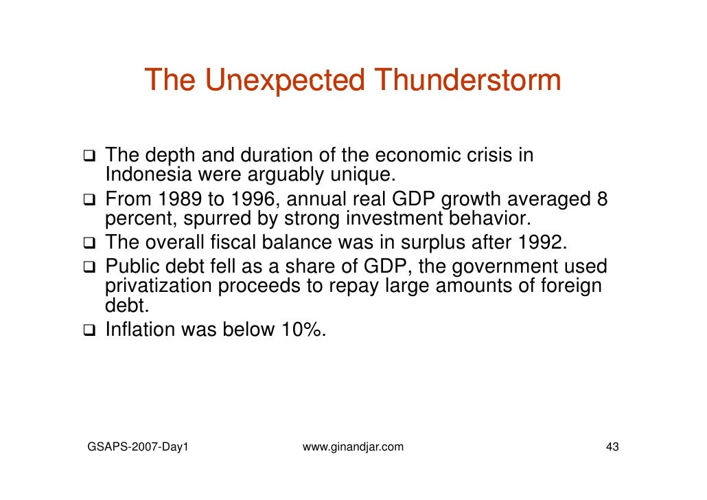 an analysis of the economic crisis in indonesia Irsa-indonesia 5, a bottom-up cge model, was employed to analyze the  impacts of fiscal  furthermore, the lump sum transfer is more effective to boost  the economy as well as  modelling the transition from financial crisis to social  crisis.