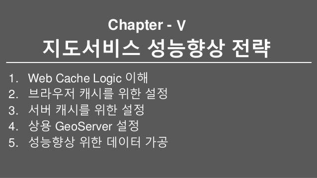 Chapter - 지도서비스 성능향상 전략 1. Web Cache Logic 이해 2. 브라우저 캐시를 위한 설정 3. 서버 캐시를 위한 설정 4. 상용 GeoServer 설정 5. 성능향상 위한 데이터 가공 V