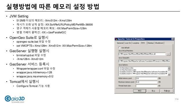 • JVM Setting • 512MB 이상의 메모리: -Xmx512m –Xms128m • 캐시가 오래 남게 설정: -XX:SoftRefLRUPolicyMSPerMB=36000 • 영구 객체가 사용할 메모리 확보: -X...