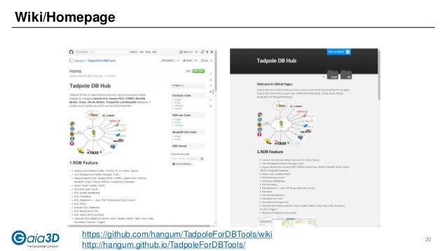Wiki/Homepage https://github.com/hangum/TadpoleForDBTools/wiki http://hangum.github.io/TadpoleForDBTools/ 20