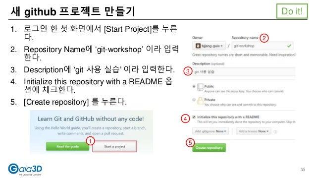 새 github 프로젝트 만들기 1. 로그인 한 첫 화면에서 [Start Project]를 누른 다. 2. Repository Name에 'git-workshop' 이라 입력 한다. 3. Description에 'git...