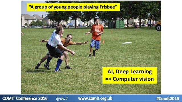 """""""A group of young people playing Frisbee"""" AI, Deep Learning => Computer vision @dw2"""