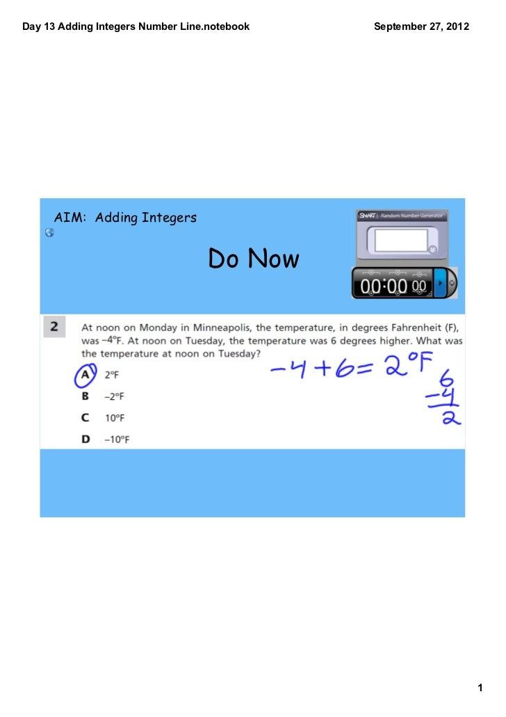 Day13AddingIntegersNumberLine.notebook   September27,2012     AIM: Adding Integers                                 ...