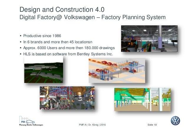 Seite 18PMF/A | Dr. König | 2016 Design and Construction 4.0 Digital Factory@ Volkswagen – Factory Planning System  Produ...