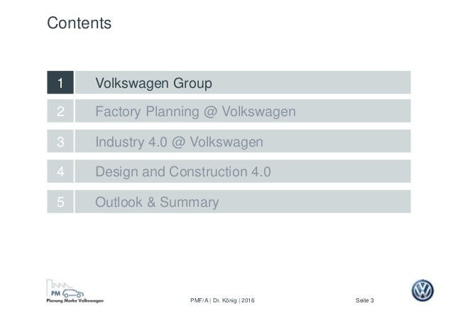 Seite 3PMF/A | Dr. König | 2016 Factory Planning @ Volkswagen Design and Construction 4.0 2 5 Outlook & Summary 4 Industry...