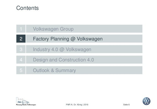 Seite 6PMF/A | Dr. König | 2016 Factory Planning @ Volkswagen Design and Construction 4.0 2 5 Outlook & Summary 4 Industry...