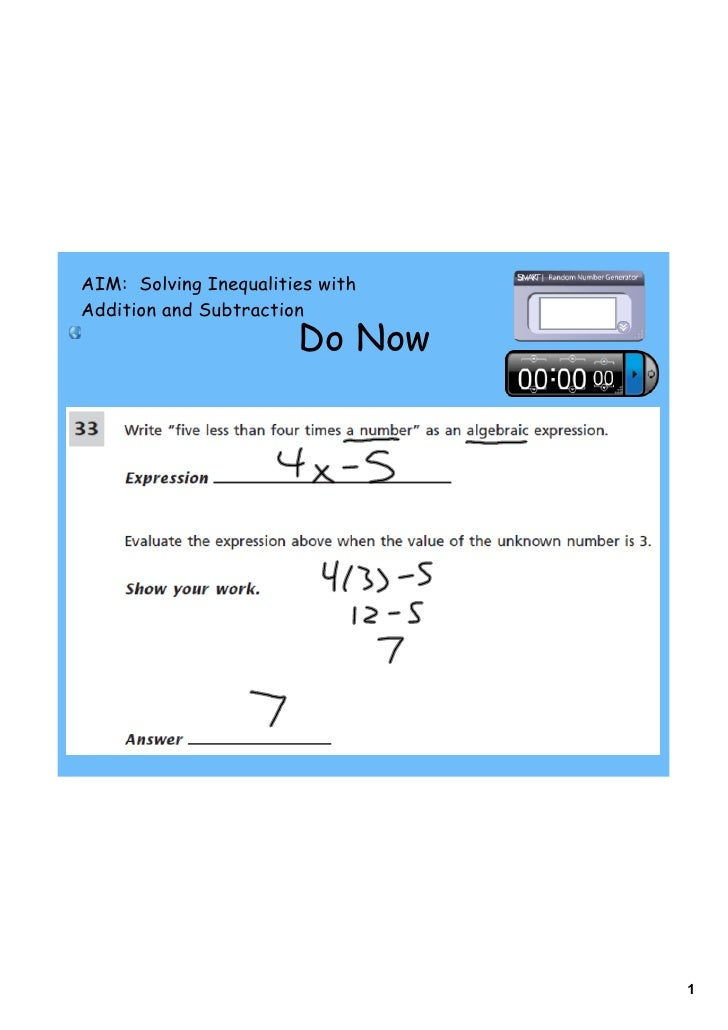 AIM: Solving Inequalities with Addition and Subtraction                        Do Now                                     ...