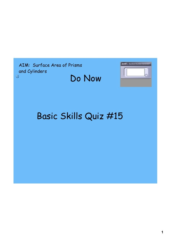 AIM: Surface Area of Prismsand Cylinders                     Do Now       Basic Skills Quiz #15                           ...