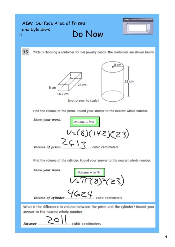 AIM: Surface Area of Prismsand Cylinders                     Do Now                              1