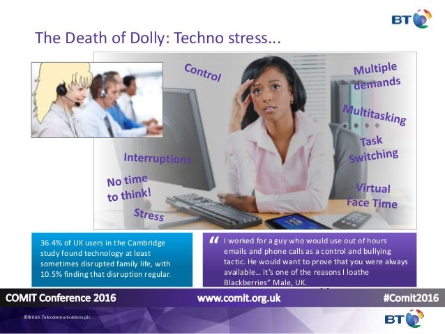 The Death of Dolly: Techno stress... I worked for a guy who would use out of hours emails and phone calls as a control and...