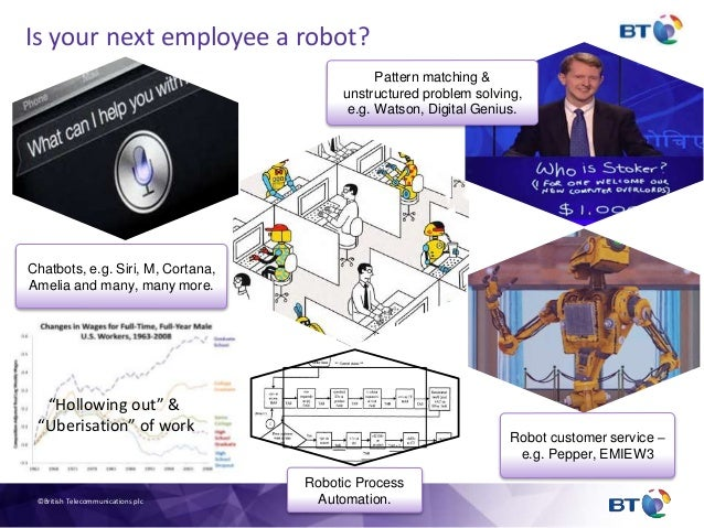 """Is your next employee a robot? """"Hollowing out"""" & """"Uberisation"""" of work Pattern matching & unstructured problem solving, e...."""