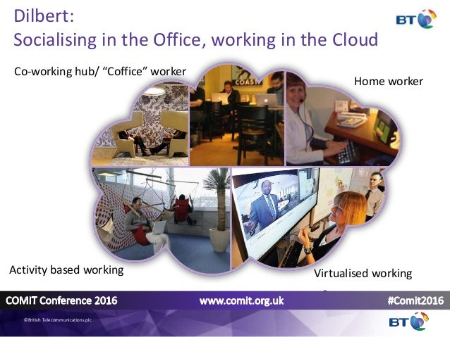 """Dilbert: Socialising in the Office, working in the Cloud Home worker Co-working hub/ """"Coffice"""" worker Activity based worki..."""