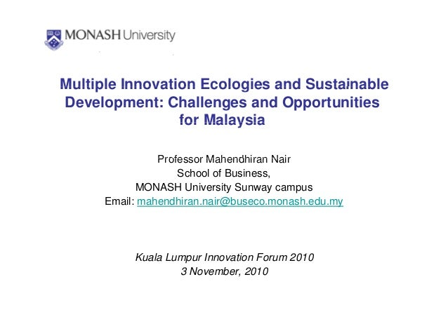 Multiple Innovation Ecologies and SustainableMultiple Innovation Ecologies and Sustainable Development: Challenges and Opp...