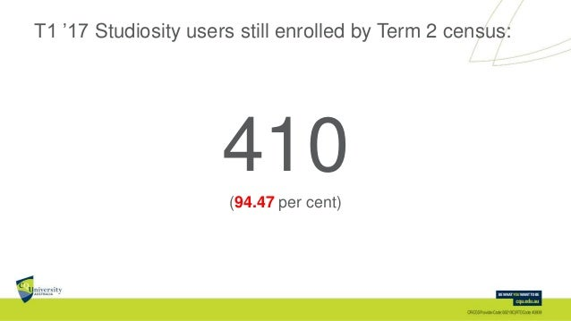 T1 '17 Studiosity users still enrolled by Term 2 census: 410(94.47 per cent)