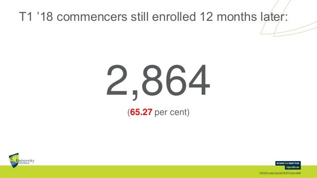 T1 '18 commencers still enrolled 12 months later: 2,864(65.27 per cent)