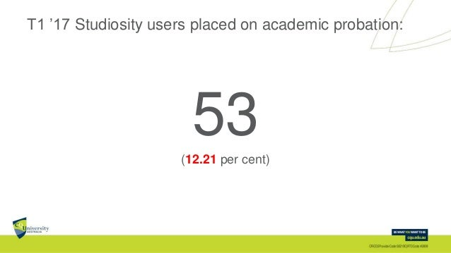 T1 '17 Studiosity users placed on academic probation: 53(12.21 per cent)
