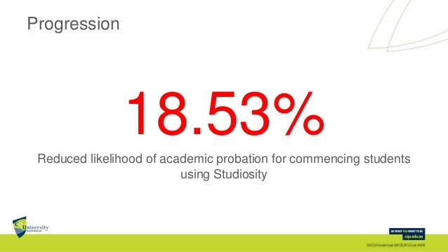 Progression 18.53%Reduced likelihood of academic probation for commencing students using Studiosity