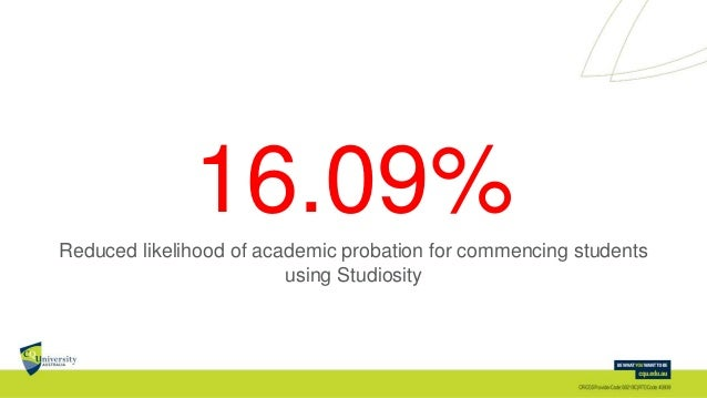 16.09%Reduced likelihood of academic probation for commencing students using Studiosity