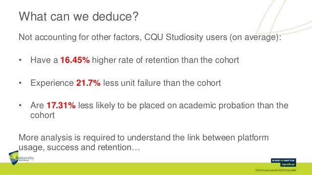 What can we deduce? Not accounting for other factors, CQU Studiosity users (on average): • Have a 16.45% higher rate of re...