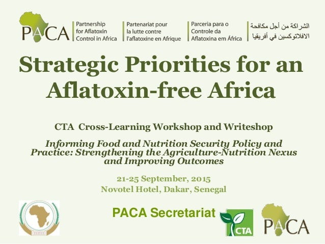 Strategic Priorities for an Aflatoxin-free Africa CTA Cross-Learning Workshop and Writeshop Informing Food and Nutrition S...