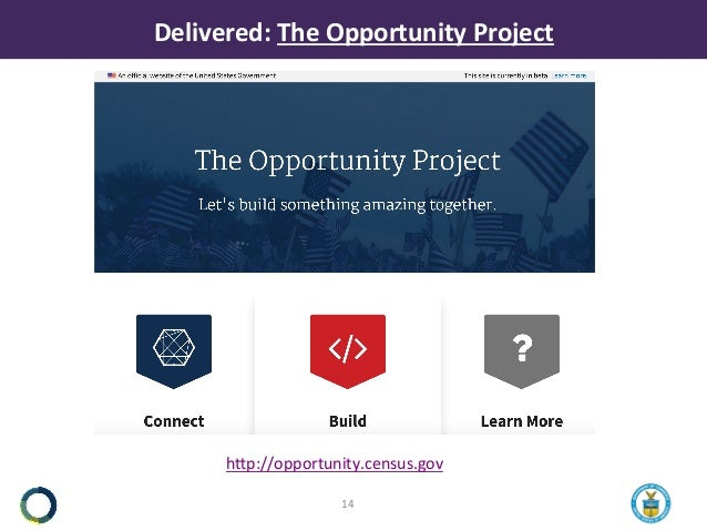 Delivered: TheOpportunityProject hNp://opportunity.census.gov  14