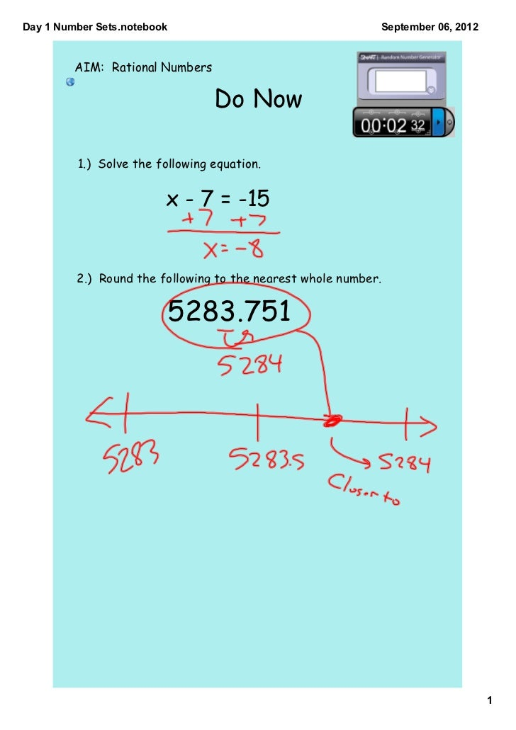Day1NumberSets.notebook                                  September06,2012         AIM: Rational Numbers              ...
