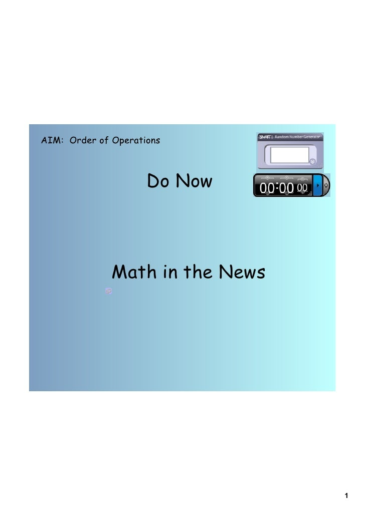 Day 1 order of operations