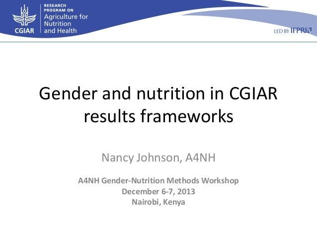 Gender and nutrition in CGIAR results frameworks Nancy Johnson, A4NH A4NH Gender-Nutrition Methods Workshop December 6-7, ...