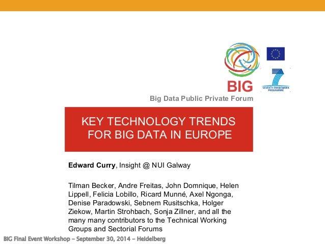 BIG Final Event Workshop - September 30, 2014 - Heidelberg  BIG  Big Data Public Private Forum  KEY TECHNOLOGY TRENDS  FOR...