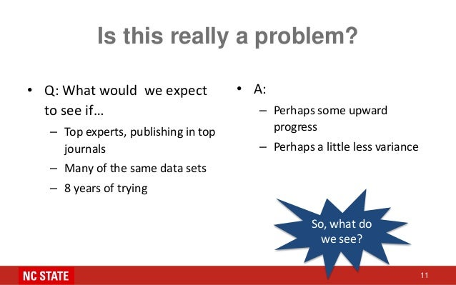 Is this really a problem? • Q: What would we expect to see if… – Top experts, publishing in top journals – Many of the sam...