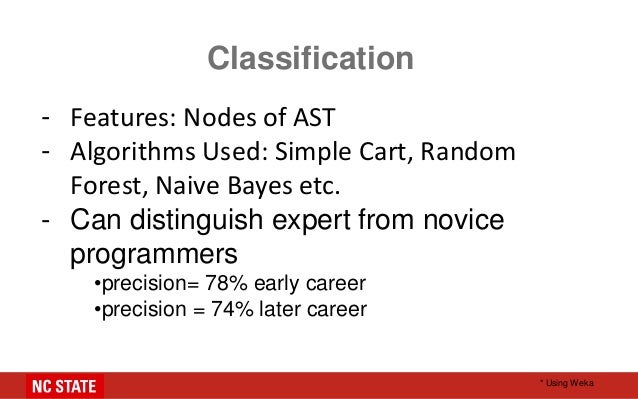 Classification - Features: Nodes of AST - Algorithms Used: Simple Cart, Random Forest, Naive Bayes etc. - Can distinguish ...