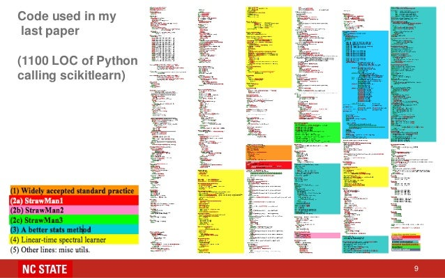 Code used in my last paper (1100 LOC of Python calling scikitlearn) 9