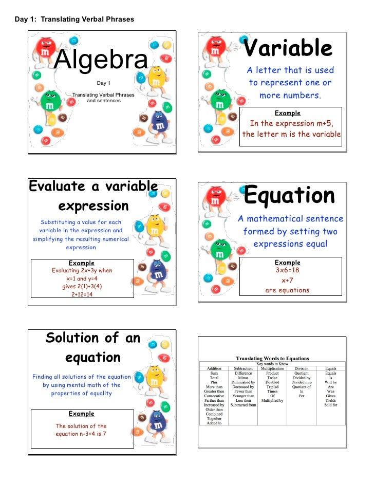 Day 1: Translating Verbal Phrases                                                     Variable             Algebra        ...