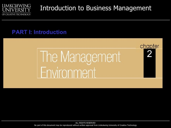Introduction to Business Management   PART I: Introduction                                                                ...