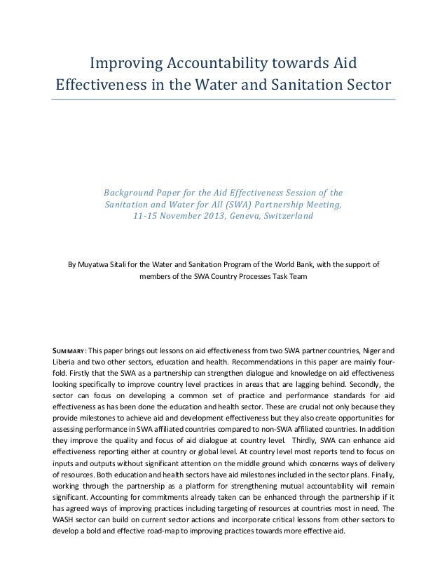 Improving Accountability towards Aid Effectiveness in the Water and Sanitation Sector  Background Paper for the Aid Effect...