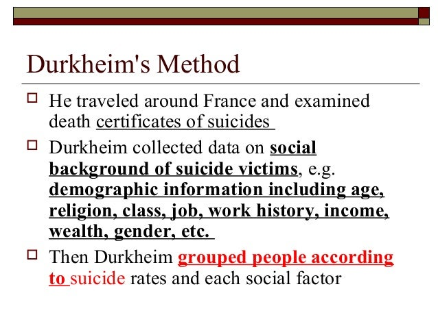 the different types of suicides according to durkheim One hundred years of emile durkheim's suicide:  he isolated three main aetiological types of suicide  according to durkheim:.