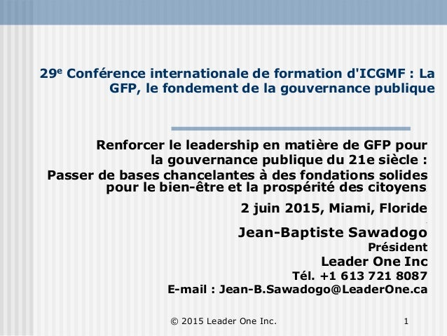 29e Conférence internationale de formation d'ICGMF : La GFP, le fondement de la gouvernance publique Renforcer le leadersh...
