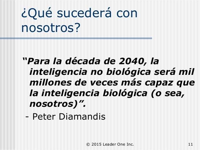 """¿Qué sucederá con nosotros? """"Para la década de 2040, la inteligencia no biológica será mil millones de veces más capaz que..."""