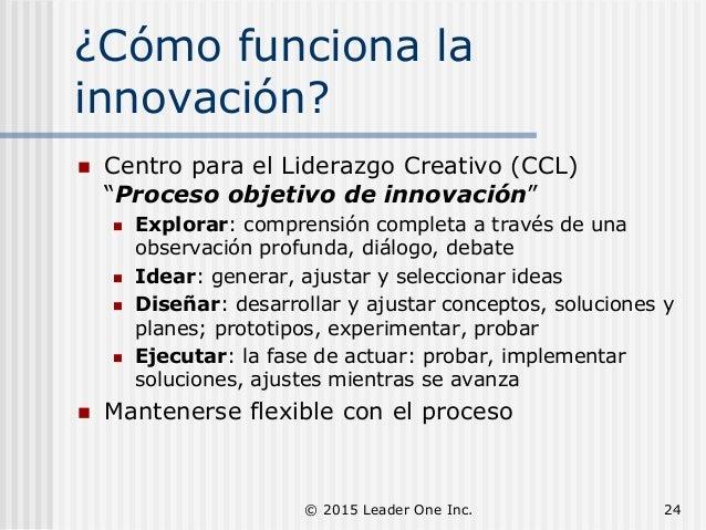"""¿Cómo funciona la innovación?  Centro para el Liderazgo Creativo (CCL) """"Proceso objetivo de innovación""""  Explorar: compr..."""