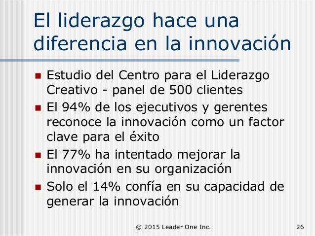 El liderazgo hace una diferencia en la innovación  Estudio del Centro para el Liderazgo Creativo - panel de 500 clientes ...