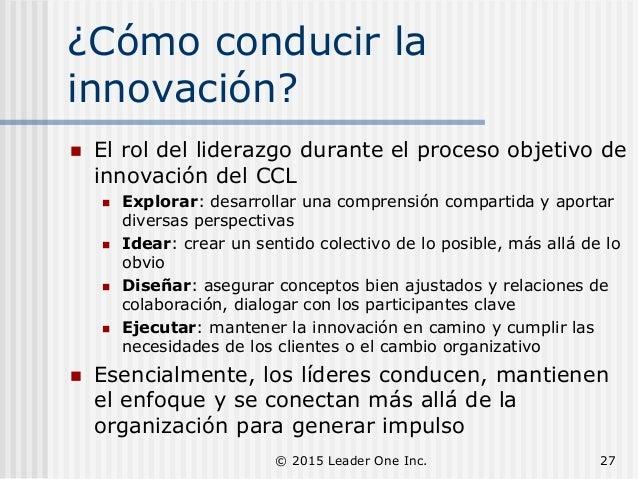 ¿Cómo conducir la innovación?  El rol del liderazgo durante el proceso objetivo de innovación del CCL  Explorar: desarro...