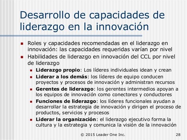 Desarrollo de capacidades de liderazgo en la innovación  Roles y capacidades recomendadas en el liderazgo en innovación: ...