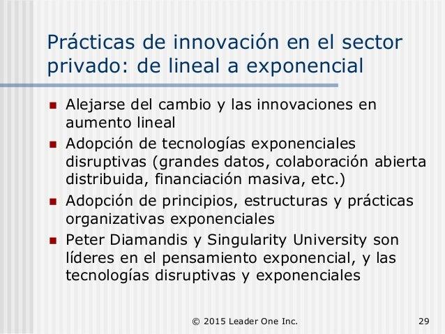 Prácticas de innovación en el sector privado: de lineal a exponencial  Alejarse del cambio y las innovaciones en aumento ...